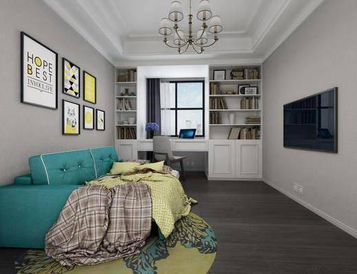 书房, 多人沙发, 装饰画, 挂画, 照片墙, 装饰柜, 书柜, 单人椅, 吊灯, 书籍, 简欧