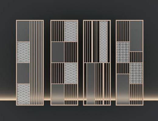 夹丝玻璃, 屏风隔断, 屏风组合, 新中式