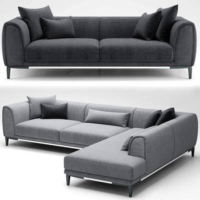 双人沙发, 转角沙发, 布艺沙发, 现代