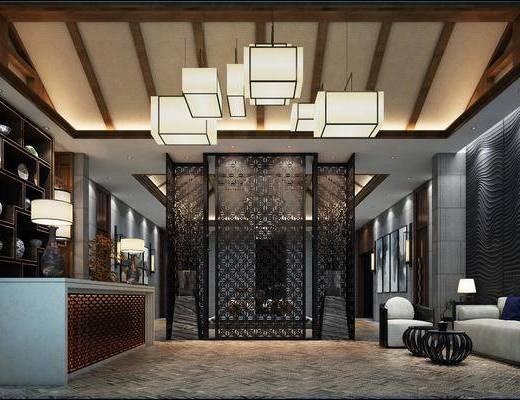 新中式酒店大堂, 前台, 吊灯, 置物架, 台灯, 挂画, 沙发, 新中式