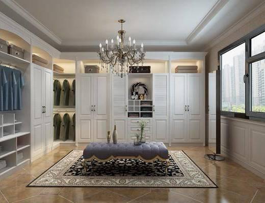 衣帽间, 衣柜, 衣服, 落地镜, 简欧衣帽间, 吊灯, 沙发凳, 摆件, 简欧