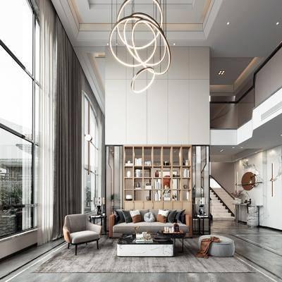 现代, 轻奢, 别墅, 客厅, 家装