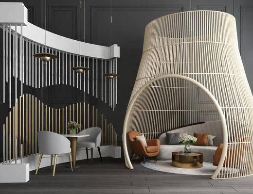 沙发组合, 卡座, 现代沙发组合, 隔断, 单椅, 茶几