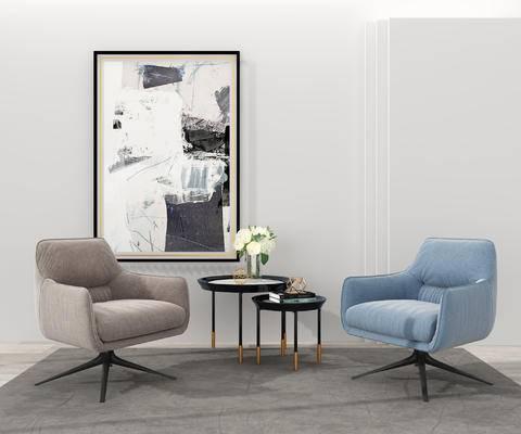 边几, 挂画, 单人沙发, 沙发椅