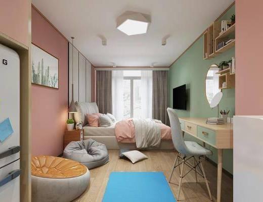 北欧卧室, 卧室, 双人床, 公寓