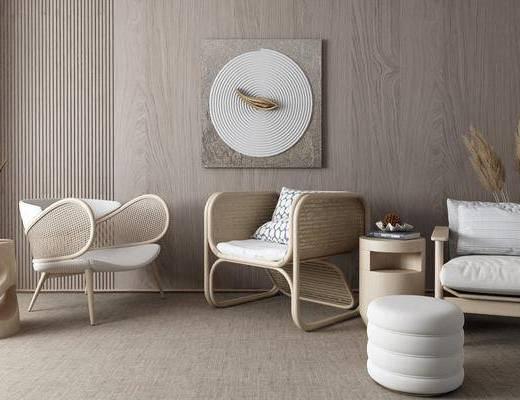 茶几, 休闲椅, 挂画, 藤椅