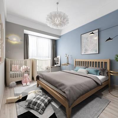 北欧卧室, 卧室, 婴儿床, 床, 吊灯, 儿童床