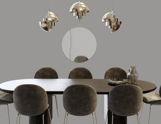 餐桌, 桌椅组合, 吊灯, 墙饰, 摆件