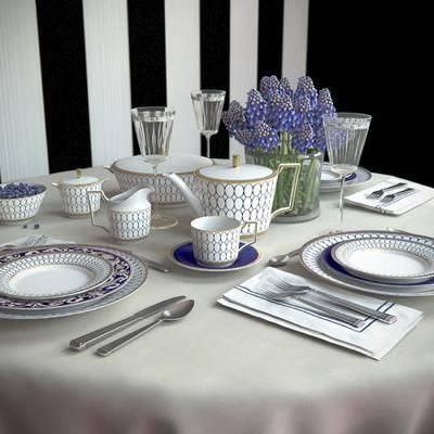 餐桌, 餐具, 碗, 碟, 杯子, 陶瓷, 花瓶, 花卉, 植物