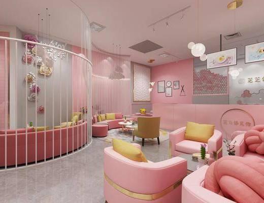 甜品店, 圆弧沙发, 茶几, 单人沙发, 墙饰, 吊灯, 摆件, 装饰品, 陈设品, 组合画, 现代