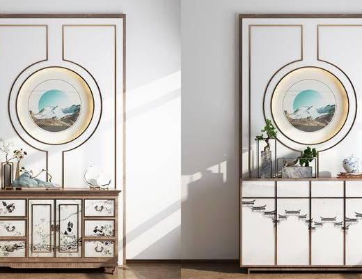 边柜, 端景条案, 盆景, 绿植, 装饰品, 陈设品, 摆件, 新中式