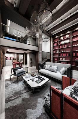 新中式, 客厅, 沙发, 装饰柜, 禅意