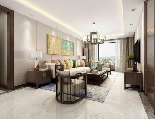 新中式, 客厅, 沙发茶几组合, 吊灯, 陈设品组合