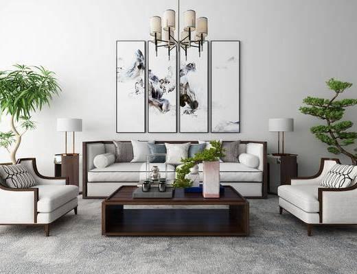 新中式沙发茶几装饰画吊灯地毯组合, 新中式, 中式沙发组合, 中式吊灯, 中式装饰画, 植物, 茶几