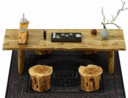 茶几, 茶桌, 凳子, 摆件, 中式