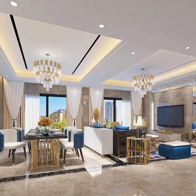 现代客厅, 时尚客厅, 奢华客厅, 大理石墙面, 玫瑰金, 现代, 客厅, 沙发组合, 餐桌椅, 后现代, 装饰画, 挂画, 吊灯, 电视柜