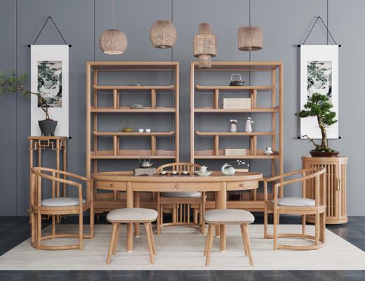 新中式, 茶室, 桌椅组合, 置物架, 吊灯, 茶具组合