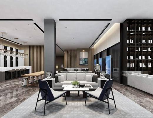 售楼处, 新中式售楼处, 前台, 大厅, 沙发组合, 茶几, 摆件组合