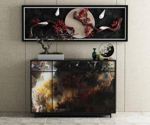 边柜, 摆件组合, 装饰柜, 装饰画