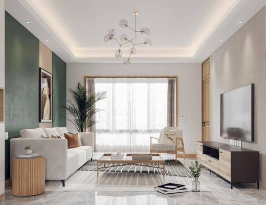 沙发组合, 边柜, 摆件组合, 餐桌, 装饰画, 盆栽植物, 吊灯