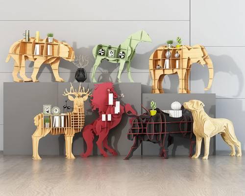 北欧, 儿童动物书架, 装饰架, 饰品