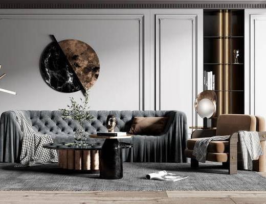 沙发组合, 墙饰, 茶几, 摆件组合, 单椅, 边几, 台灯