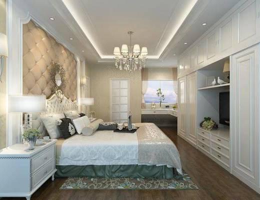 欧式, 卧室, 双人床, 边柜, 台灯, 吊灯