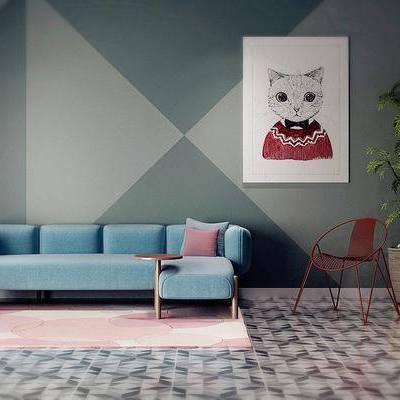 沙发组合, 茶几, 植物, 盆栽, 单椅, 挂画, 椅子, 装饰画, 摆件, 北欧沙发组合, 北欧, 双十一