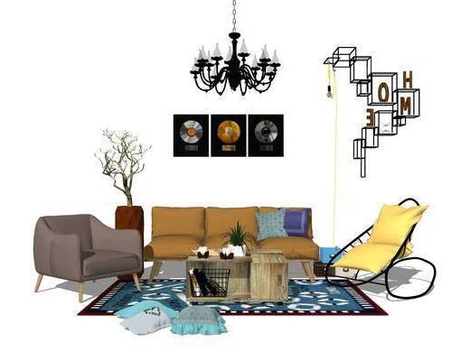 北歐沙發, 沙發組合, 北歐吊燈, 現代置物架, 現代盆栽