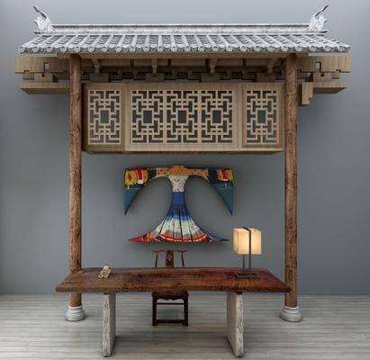 门面门头, 门庭, 古建瓦片, 书桌椅, 摆件挂件, 墙饰, 台灯, 单人椅, 桌子, 中式