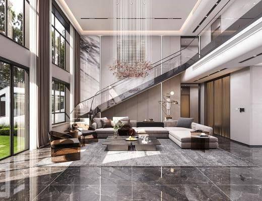 现代, 别墅, 客厅, 家装