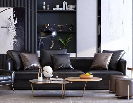 现代沙发组合, 沙发茶几组合, 现代沙发, 多人沙发, 茶几