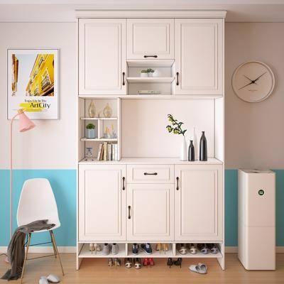 鞋柜, 装饰柜, 单人椅, 装饰画, 挂画, 落地灯, 现代