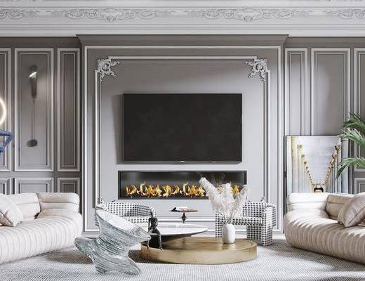 沙发组合, 茶几, 抱枕, 吊灯, 壁灯, 电视, 植物, 装饰画