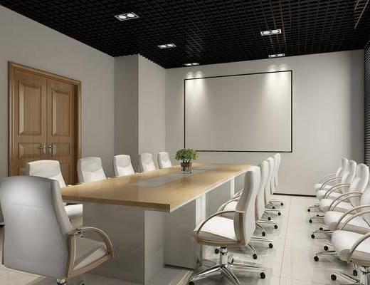 会议室, 会议桌, 单人椅, 办公椅, 现代