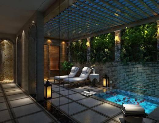 SPA会所, spa桑拿, 单人沙发, 休闲椅, 植物墙, 壁灯, 落地灯, 现代