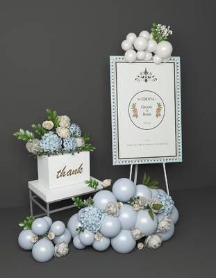 展示架, 花艺, 气球, 婚礼婚庆, 现代