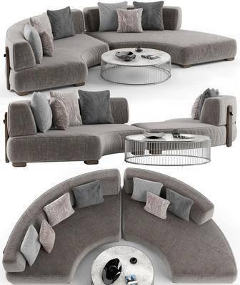 弧形沙发, 多人沙发, 茶几, 现代, 摆件, 装饰品