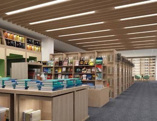 图书馆, 书柜, 书架, 书籍