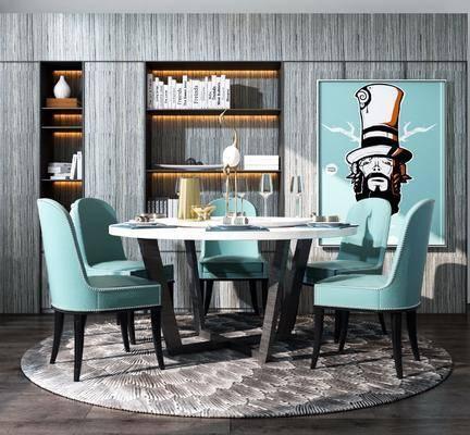 餐厅, 餐桌椅组合, 置物柜, 装饰画
