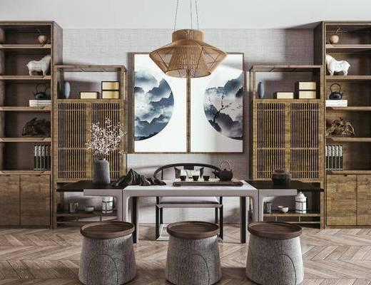 茶桌椅组合, 茶桌, 泡茶椅, 矮凳, 装饰柜, 挂画, 吊灯, 饰品摆件