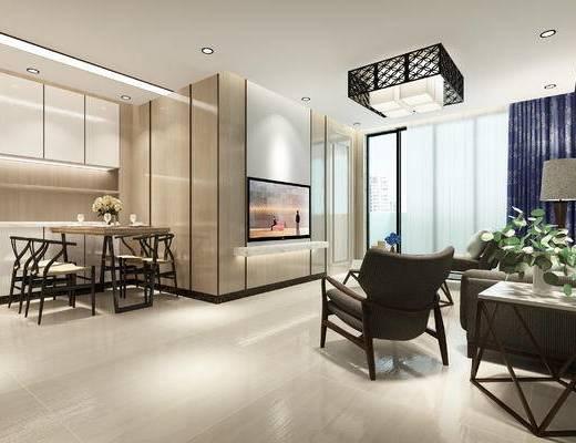 中式, 中式客厅, 中式餐厅, 中式餐桌, 沙发组合, 中式吊灯