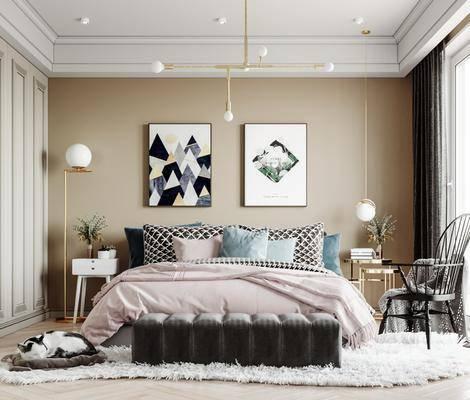 单人床, 装饰画, 吊灯, 落地灯, 单椅, 衣柜