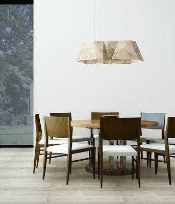 现代, 餐桌椅, 桌椅组合, 吊灯, 椅子, 桌子, 圆桌