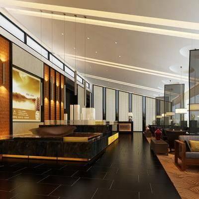 售楼处, 售楼部, 洽谈区, 休闲区, 走廊过道, 新中式
