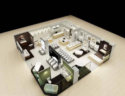 卫浴展厅, 卫浴组合, 展厅模型, 现代