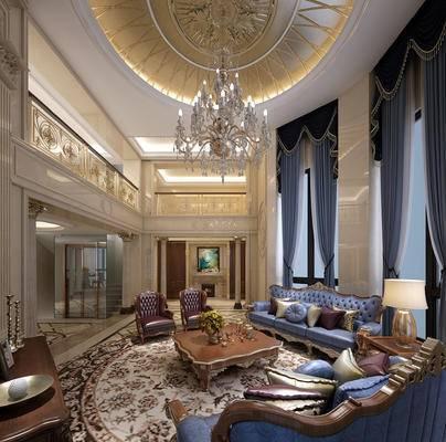 沙发组合, 楼梯, 栏杆, 罗马柱, 电梯, 壁炉, 窗帘