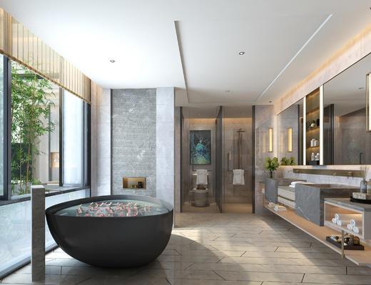 卫生间, 浴缸, 卫浴, 洗手台, 淋浴间, 吊灯