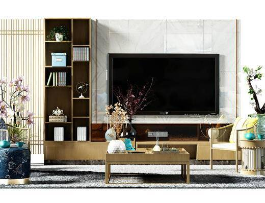 电视墙, 背景墙, 电视背景墙, 椅子, 茶几, 盆景, 植物, 现代, 新中式, 中式