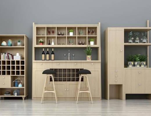 酒柜, 吧台, 吧椅, 装饰柜组合, 北欧, 单人椅